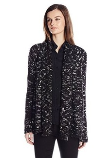 Calvin Klein Jeans Women's Marled Open Cardigan, Black, Small