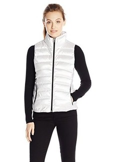 Calvin Klein Jeans Women's Metallic Puffer Vest, White, X-Large