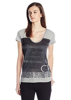 Calvin Klein Jeans Women's Painted Snake Tee, Iron Heather, Medium