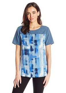 Calvin Klein Jeans Women's Print Block T Shirt, Ultra Blue, Small