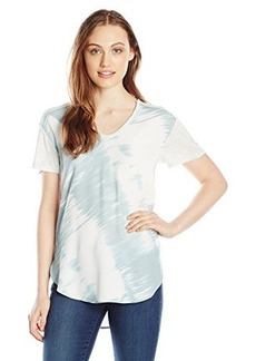 Calvin Klein Jeans Women's Scoop Neck Print Blocked Tee, Light Jade, Large