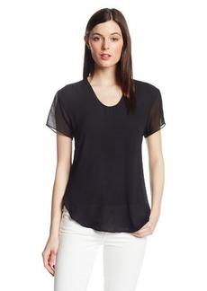Calvin Klein Jeans Women's Sheer-Front Woven Tee