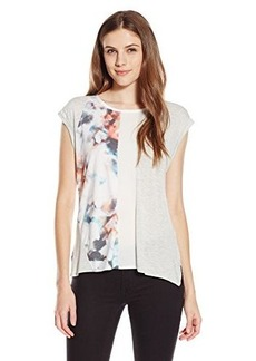 Calvin Klein Jeans Women's Short Sleeve Print Blocked Tee, Grenadine, X-Large