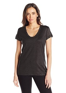 Calvin Klein Jeans Women's Short Sleeve V-Neck Downtown Snake Print Tee, Black, Medium