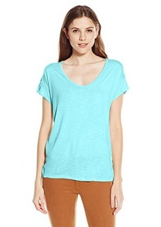 Calvin Klein Jeans Women's Short Sleeve V-Neck Keyhole Tee, Gulf Stream, X-Small