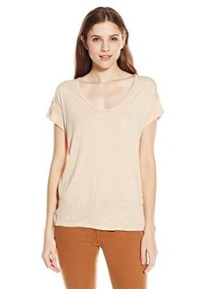 Calvin Klein Jeans Women's Short Sleeve V-Neck Keyhole Tee, Pale Blush, X-Large