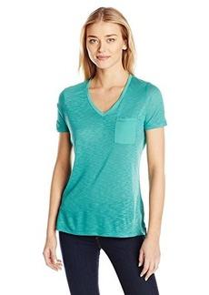 Calvin Klein Jeans Women's Short Sleeve V-Neck Slub Tee Shirt, Juniper, Medium