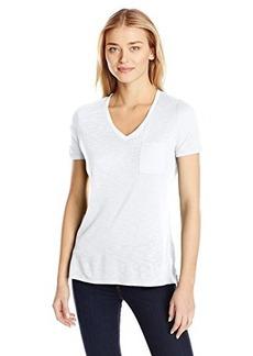 Calvin Klein Jeans Women's Short Sleeve V-Neck Slub Tee Shirt, White, Large