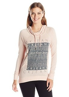 Calvin Klein Jeans Women's Silicone Wash Sweatshirt, Peach Whip, Medium