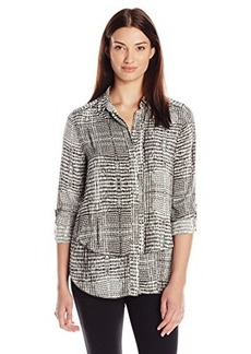 Calvin Klein Jeans Women's Snake Print Double Front Fray Shirt, Fragment, Medium