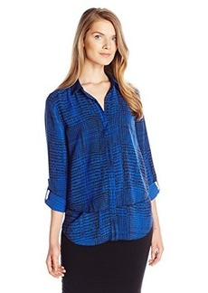 Calvin Klein Jeans Women's Snake Print Double Front Fray Shirt, Sodalite, Medium