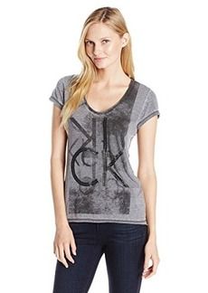 Calvin Klein Jeans Women's Stud Tee, Ebony, Medium