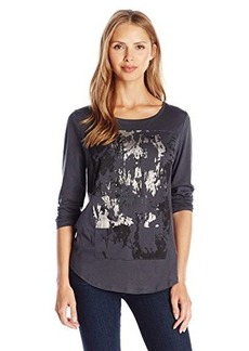 Calvin Klein Jeans Women's Texture CK Long Sleeve Tee, Ebony, Medium