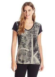 Calvin Klein Jeans Women's Textured Logo Tee, Black, Large