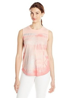 Calvin Klein Jeans Women's Textured Tee, Peach Glow, Medium