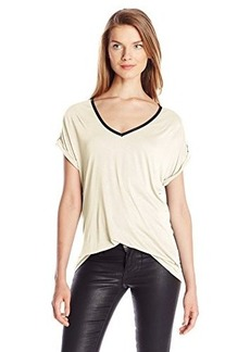 Calvin Klein Jeans Women's V Neck Tee with Lace Yoke, Gardenia, X-Large