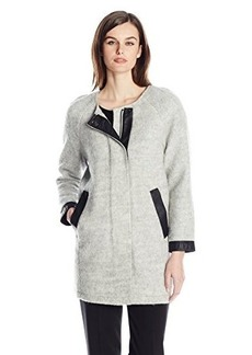 Calvin Klein Jeans Women's Woolly Cocoon Jacket with Perf Trim, Grey Cloud, Medium