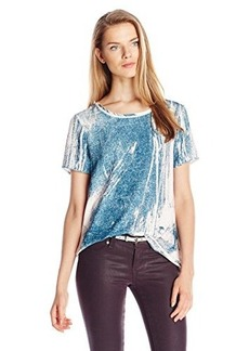 Calvin Klein Jeans Women's Woven Front Terry Tee, Rustic Rose, Large