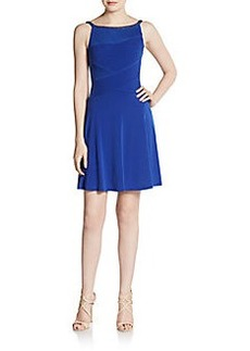 Calvin Klein Jeweled Boatneck Pleat Dress