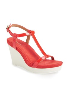 Calvin Klein 'Jiselle' T-Strap Platform Wedge Leather Sandal (Women)