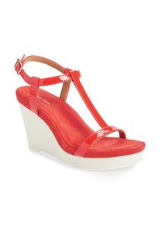 Calvin Klein 'Jiselle' T-Strap Platform Wedge Leather Sandal (Women)