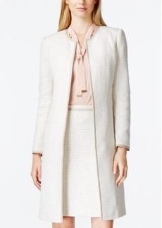 Calvin Klein Khaki-Trim Tweed Long Jacket