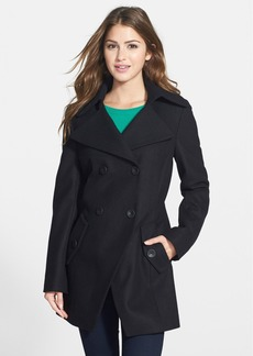 Calvin Klein Knit Collar Cutaway Wool Blend Peacoat