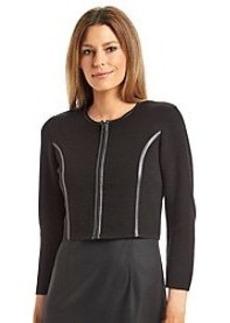 Calvin Klein Knit Faux Leather Seamed Jacket Shrug