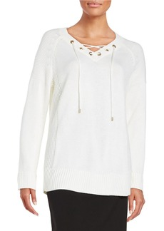 CALVIN KLEIN Knit Lace-Up Sweater
