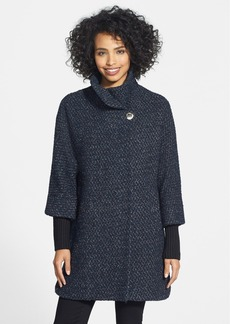 Calvin Klein Knit Sleeve Asymmetrical Tweed Coat