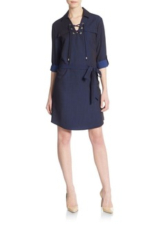 Calvin Klein Lace-Front Denim Shirtdress