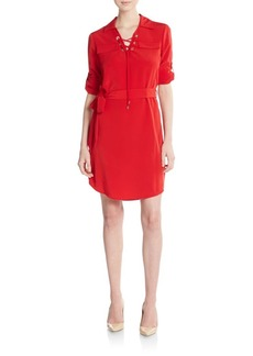 Calvin Klein Lace-Up Placket Shirtdress