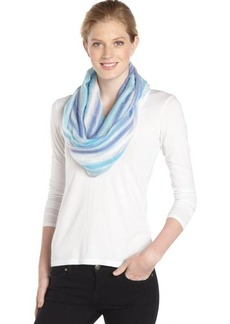 Calvin Klein lake blue open weave striped infinity scarf