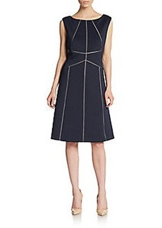 Calvin Klein Lattice Stitched A-Line Dress