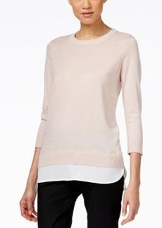 Calvin Klein Layered-Look Three-Quarter-Sleeve Sweater