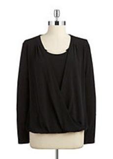 CALVIN KLEIN Layered-Style Wrap Blouse