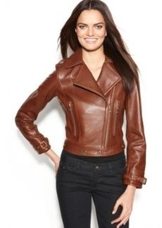 Calvin Klein Leather Asymmetrical Moto Jacket