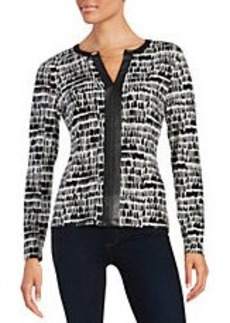 CALVIN KLEIN Leatherette Accented Blouse
