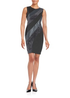 CALVIN KLEIN Leatherette and Faux-Suede Sheath Dress