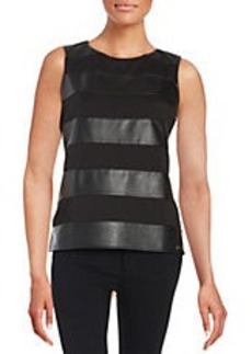 CALVIN KLEIN Leatherette Striped Blouse