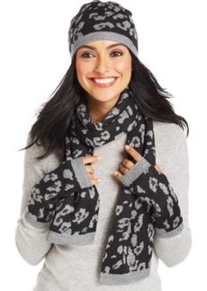 Calvin Klein Leopard Print 3-Piece Hat, Glove, & Scarf Set