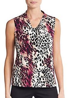 Calvin Klein Leopard Print Twist-Neck Top