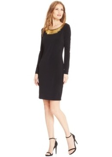 Calvin Klein Long-Sleeve Hardware-Trim Sheath