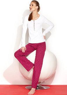 Calvin Klein Long Sleeve Knit Henley PJ Set