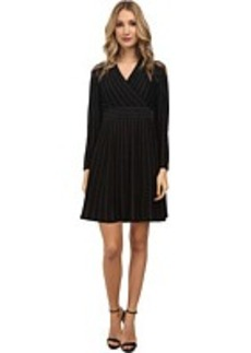 Calvin Klein Long Sleeve Two-Tone Fit & Flare Sweater Dress