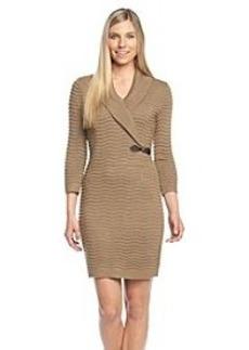 Calvin Klein Long Sleeve Wavy Buckle Sweater Dress