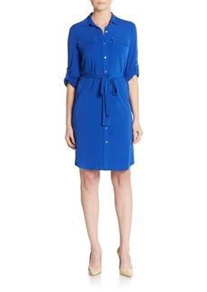 Calvin Klein Matte Jersey Belted Shirtdress