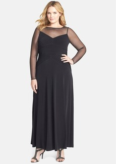 Calvin Klein Matte Jersey Gown with Embellished Illusion Yoke (Plus Size)