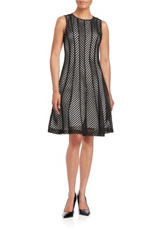 CALVIN KLEIN Mesh Chevron Dress