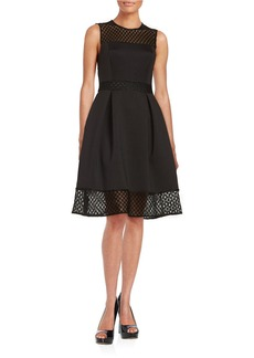 CALVIN KLEIN Mesh Paneled Fit-and-Flare Dress